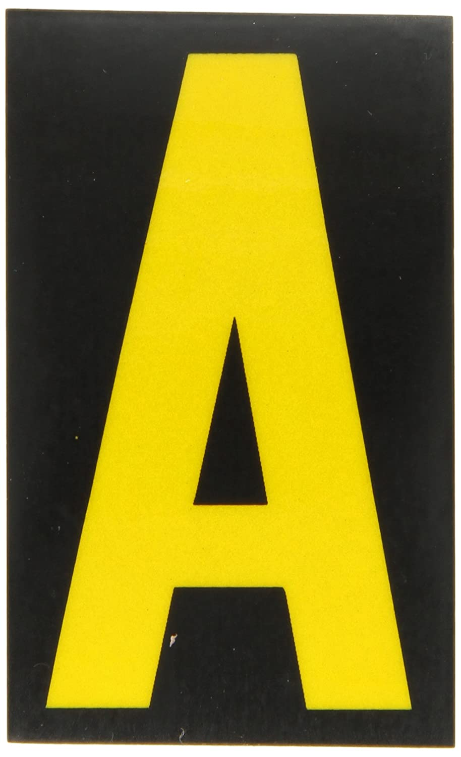 Brady 5000-S 2-7//8 Height 1-3//4 Width B-997 Engineering Grade Bradylite Reflective Sheeting Yellow On Black Color Reflective Letter Legend S Pack Of 25