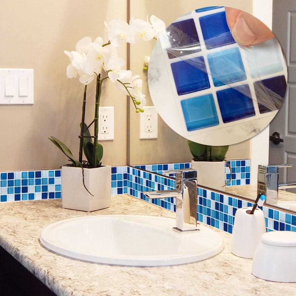 10cmx10cm 15 Piezas Pegatinas De Azulejos De Mosaico Decoraci/óN del Hogar Autoadhesivas PVC Cuarto De Ba/ñO Pegatinas De Baldosas Cocina Vinilo Pegatinas De Pared Azul y Blanco