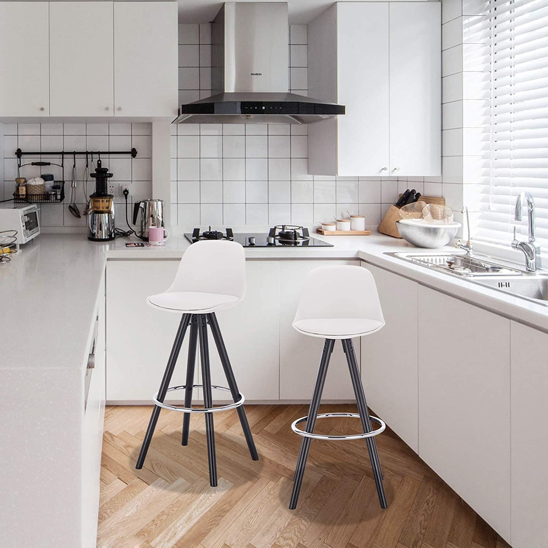 E-starain 2 Pezzi Sgabelli da Bar//Casa Seggiola con Poggiapiedi e Schienale Design Scandinavo Bianco LBAI180004-2