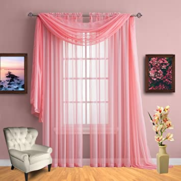 Amazon.com: Infinite Home Beauty Sheer Window Curtains. Two Panels ...