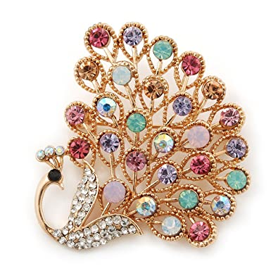 ccb7abc92a6 Gold Plated Multicoloured Swarovski Crystal 'Peacock' Brooch - 45mm Width:  Amazon.co.uk: Jewellery