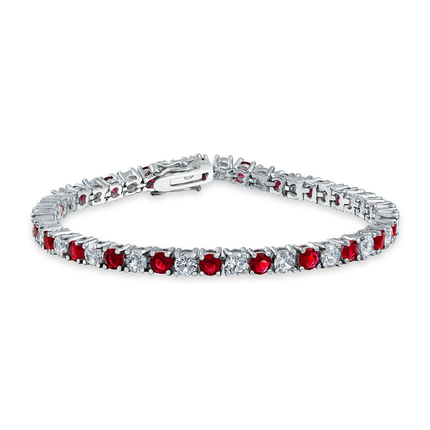 Beautiful Eternity Ruby and CZ Diamond Bracelet Is Crafted In 14k White Gold plating