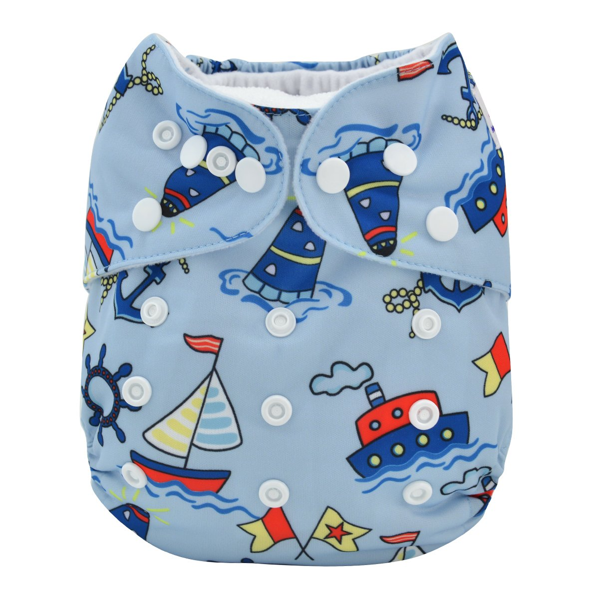 ALVABABY Baby Cloth Diaper One Size Adjustable Reuseable Washable Nappy One Pack with 2 Inserts AMD16