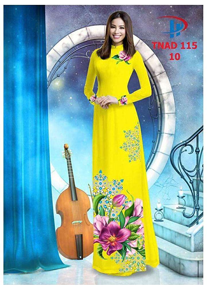 Ao Dai ADVN00492 Silk 3D All Size Traditional Vietnamese Long Dress Collections with Pants