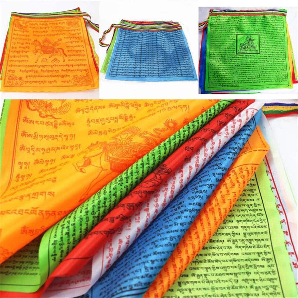 Mehrfarbig Small 10 Verses Design Textil Feng Shui Tibetanisch buddhistische Gebetsfahnen 10 Schrift Satin Religi/öse Windpferd Flagge