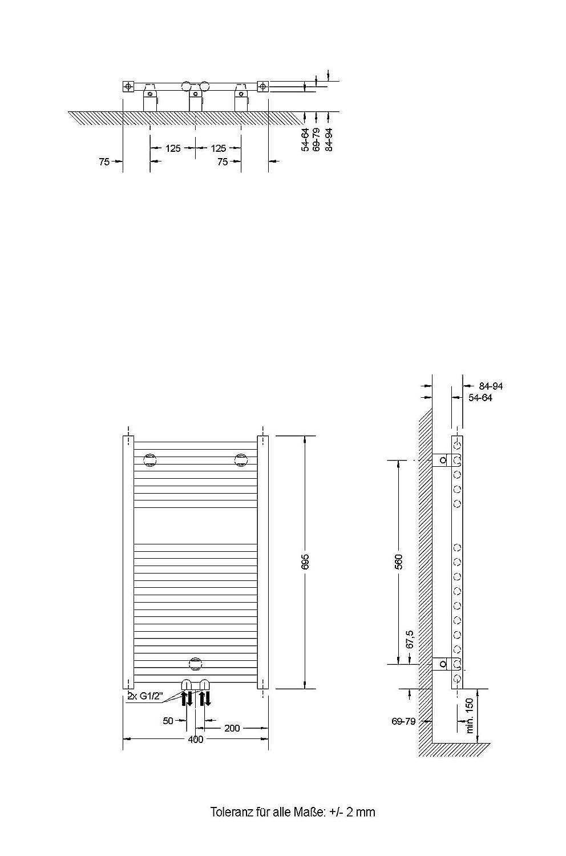 153x60 cm 886 Watt Leistung Handtuchhalter-Funktion Bad-Heizk/örper Toskana Anschluss unten Der Renovierungsprofi alpin-wei/ß