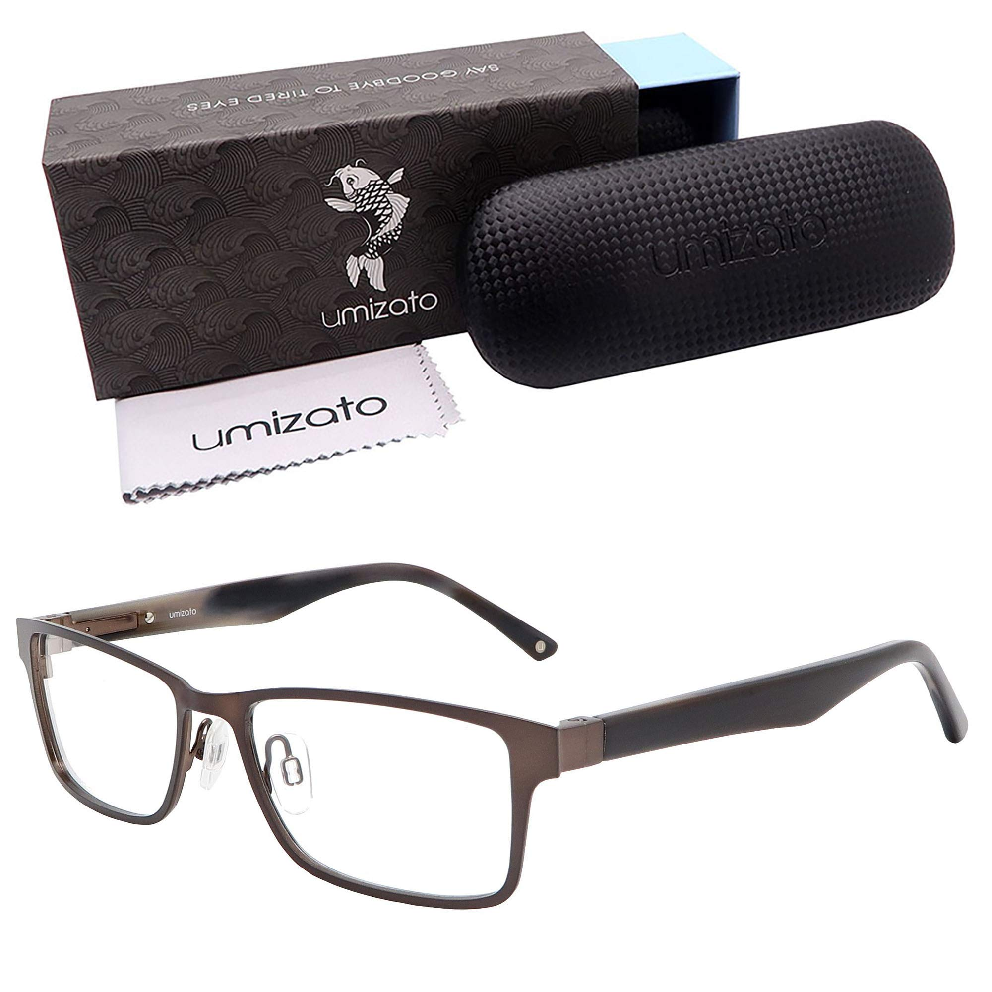 Umizato Blue Light Blocking Glasses for Men - Computer Screens Eye Protection - UV Anti-Glare Blocker, Relieves Strain, Sleep Better (Kobe in Walnut)