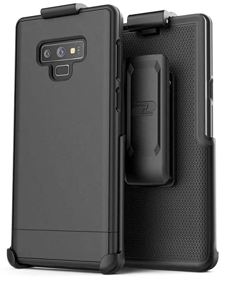 release date c6860 1ed5a Encased Belt Case for Galaxy Note 9, Ultra Slim Protective Hard Cover with  Holster Clip for Samsung Note 9 Phone (Slimshield Series) Smooth Black