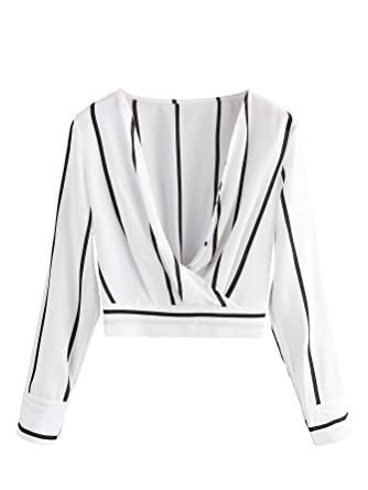 d9c6f86d68d Romwe Women's V Neck Long Sleeve Striped Surplice Crop Top Blouse Black and  White Small