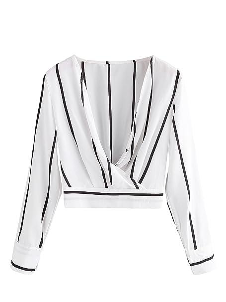 27e2b08739b07 Romwe Women s V Neck Long Sleeve Striped Surplice Crop Top Blouse Black and  White Small
