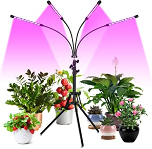 FREDI Grow Light Floor LED Grow Light with Stand Full Spectrum 4/8/12H Timer, Four-Head Sunlike Full Spectrum LEDs Plant Light for Indoor Plants, Tripod Stand Adjustable 14-56.5 in & 3 Modes