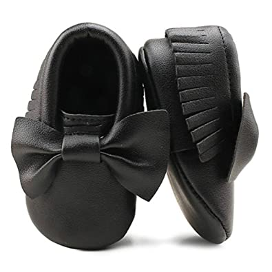 4daaa7b095 OOSAKU Baby Infant Newborn Crib Shoes with Soft Sole PU/Leather Bowknot  Tassel