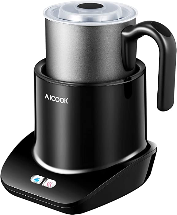 Milk Frother, Aicook Electric Milk Steamer for Hot and Cold Milk Froth, Low Noise and Detachable Dish Washer Safe Removable Milk Jug, Non-Stick Coating, Perfect for Cappuccinos, Lattes, BPA Free.