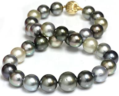 14k White Gold Chain 18Inch,AAA Round Silver Gray Tahitian Sea Pearl Necklace