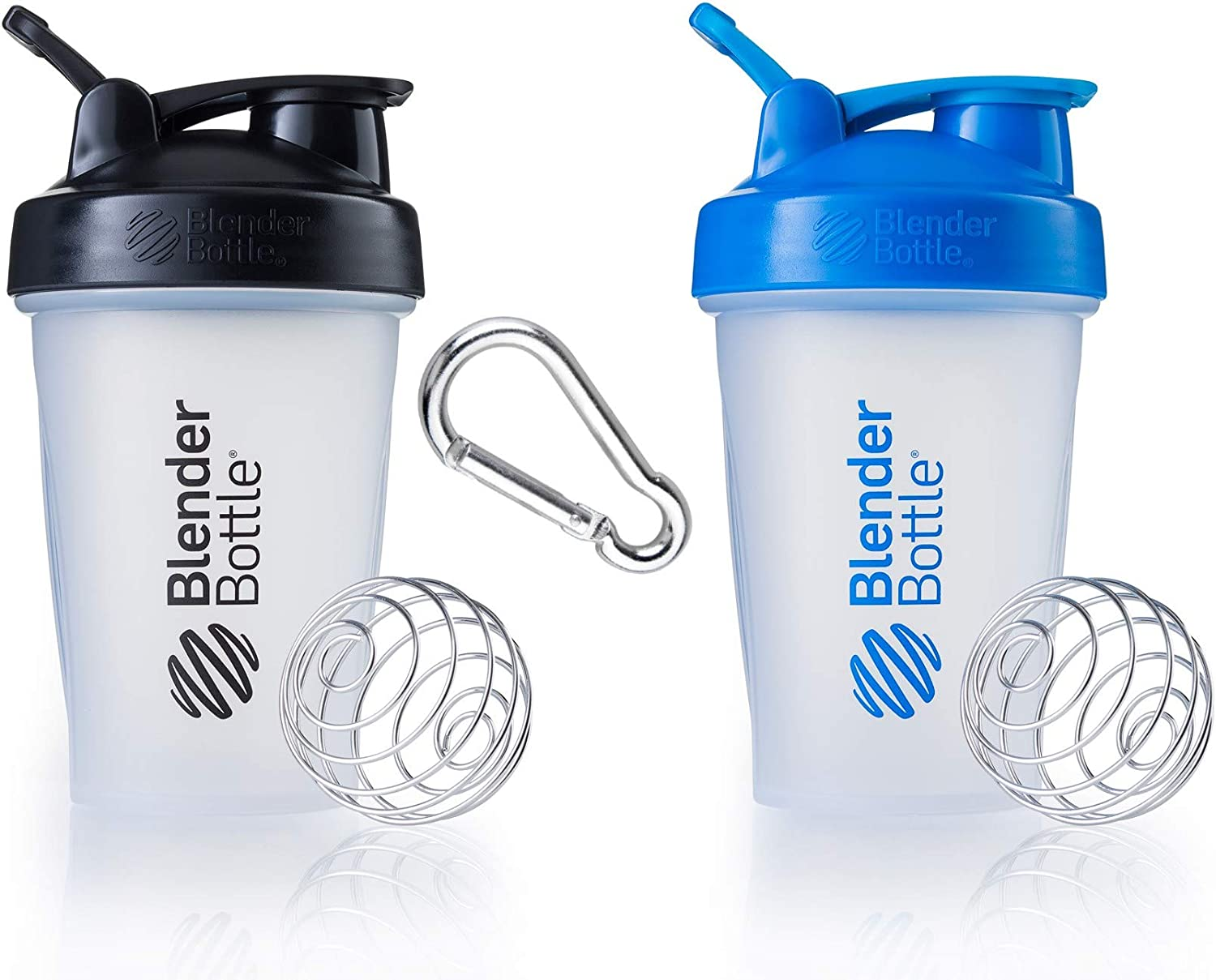 Blender Bottle 2 Pack with Stainless Steel Wire Whisk Ball and Carabiner - Two 20 Ounce Shaker Bottles with Carabiner for Protein Shakes and Supplements - Black and Cyan