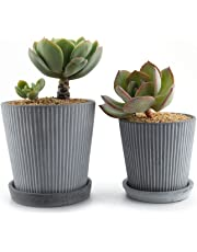 MuciHom Ceramic Succulent Plant Pot Cactus Planter Container Window Box with Round Tray Grey - Modern Line Design Set, Home and Office Desktop Windowsill Decoration Wedding