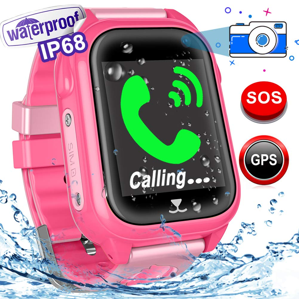 Woqoo Kids Smart Watch Phone-GPS Tracker IP67 Waterproof Fitness Tracker for Girls Boys Back to School Gift Smartwatch with Game SOS Call Camera Electronic Learning Toys for Birthday Halloween