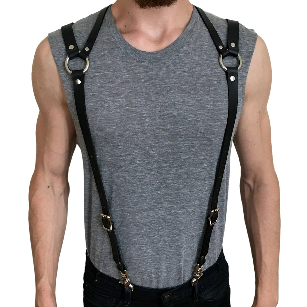Homelex Men's Black Leather Punk Y Suspenders Harness Great For Wedding & Party (LM-021)