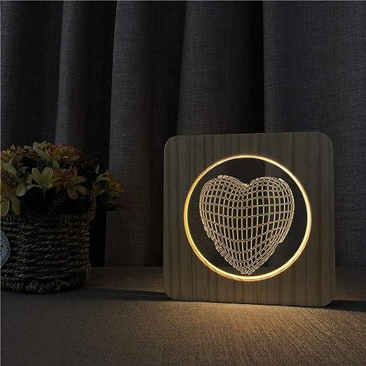 wanmeidp Love Heart 3D LED Acrílico Luces de Noche de Madera ...