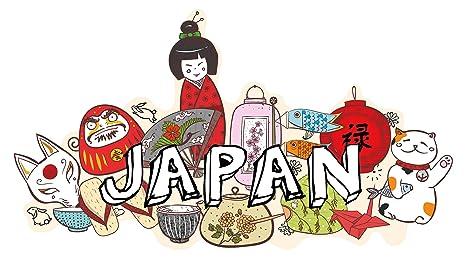 Pegatina de pared Salón Asia Letras japonesas con símbolos específicos de cada país Asia Deco para