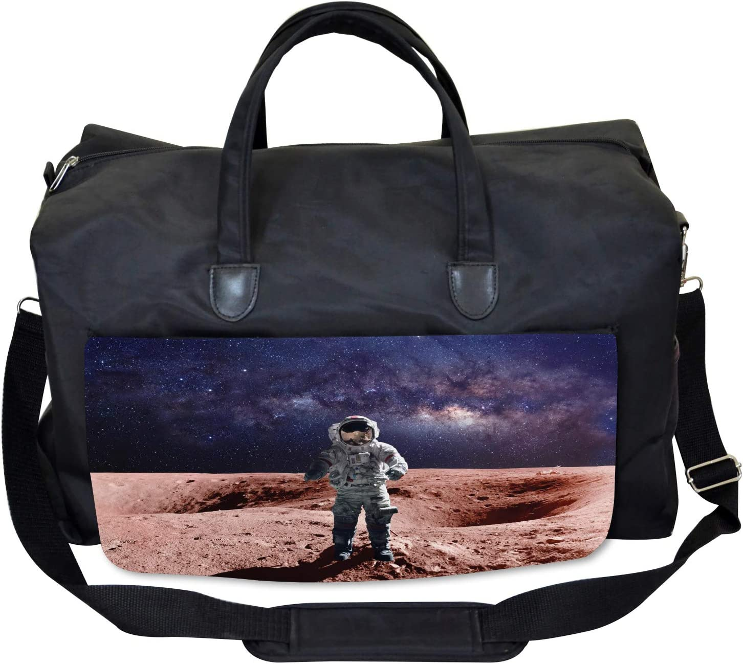 Ambesonne Nebula Gym Bag Spacewalk on Mars Outer Large Weekender Carry-on