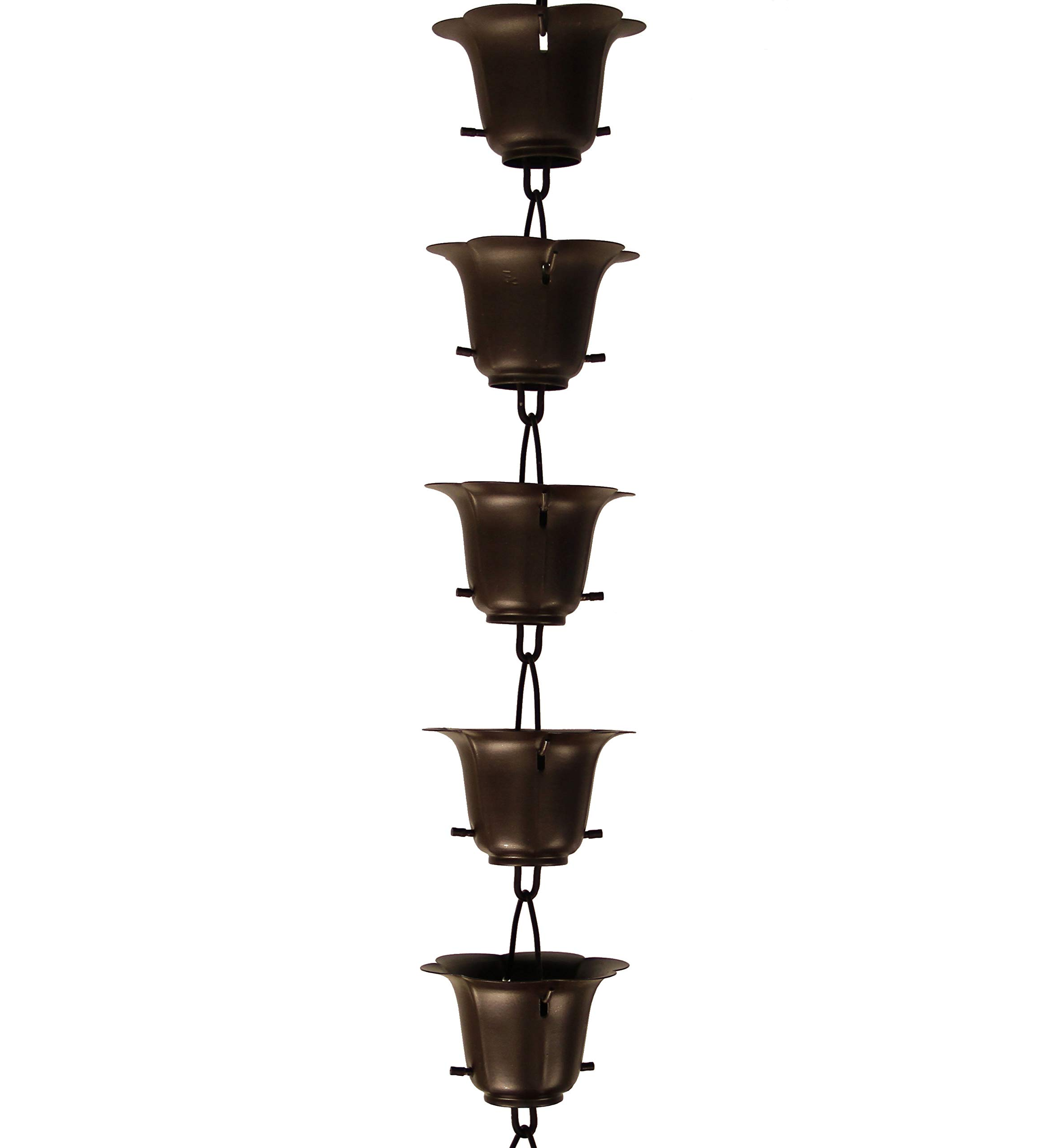 Rainchains, Inc. Bronze Iron Flower Cup RAIN Chain with Installation KIT (8 Feet)