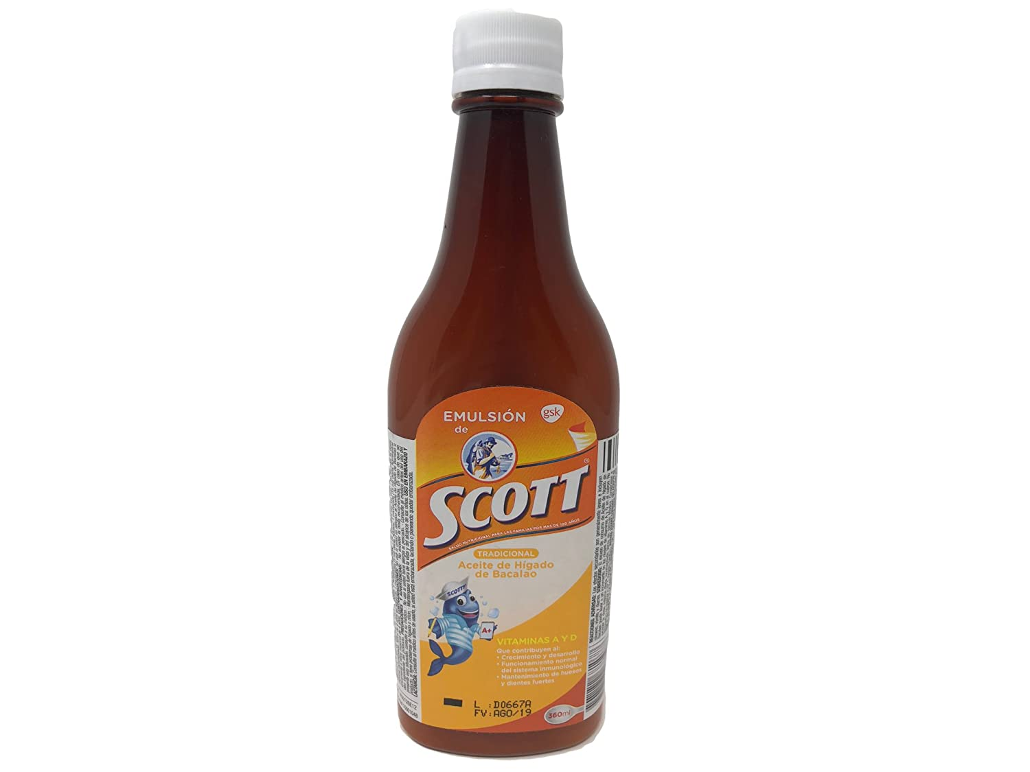 Amazon.com : Emulsion de Scott (Sabor Tradicional) (360 ml) : Grocery & Gourmet Food