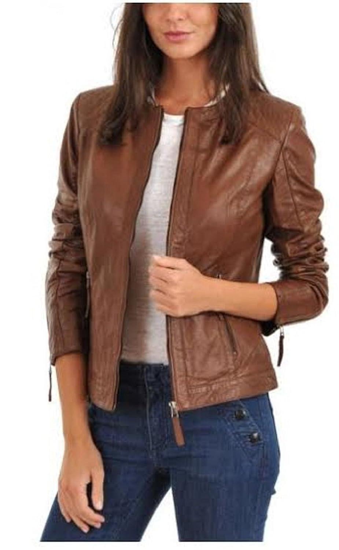 NBENTERPRISES Women's Brown Leather Bomber Jacket NBE-11021