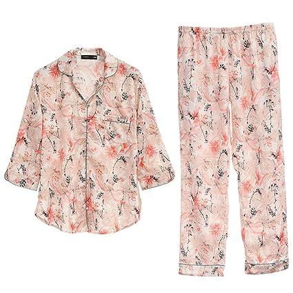 Pijamas Sweet Stripe algodón Sexy señoras Manga Larga cómodos algodón HUXIUPING (Color : Blanco,