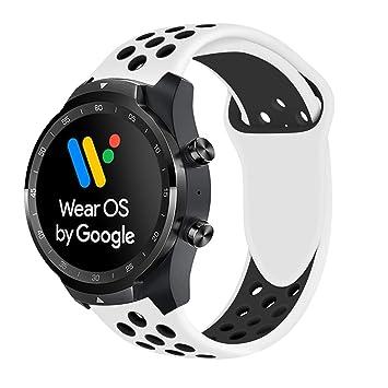 Ceston Deporte Silicona Clásico Correas para Smartwatch TicWatch Pro (Blanco + Negro)