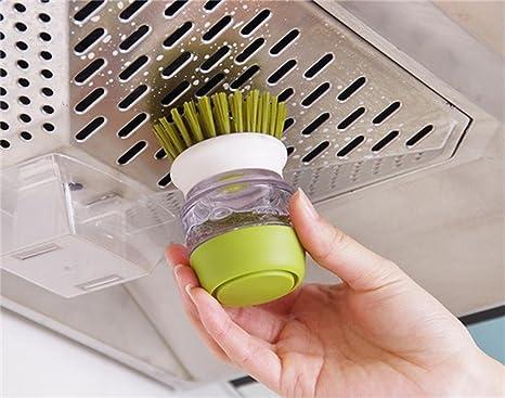 TENTA Kitchen Dispensador de jabón Cepillo de Plato Conjunto de Almacenamiento - Cepillo de Limpieza líquido automático - Captura de Agua gotea Titular ...
