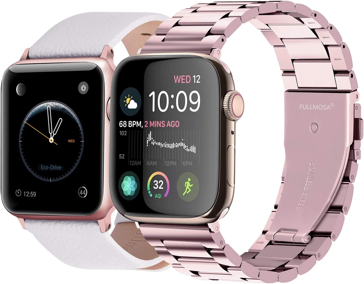 Fullmosa Compatible Apple Watch Leather Band 38mm 40mm White & Apple Watch Stainless Steel Band 38mm 40mm Rose Gold
