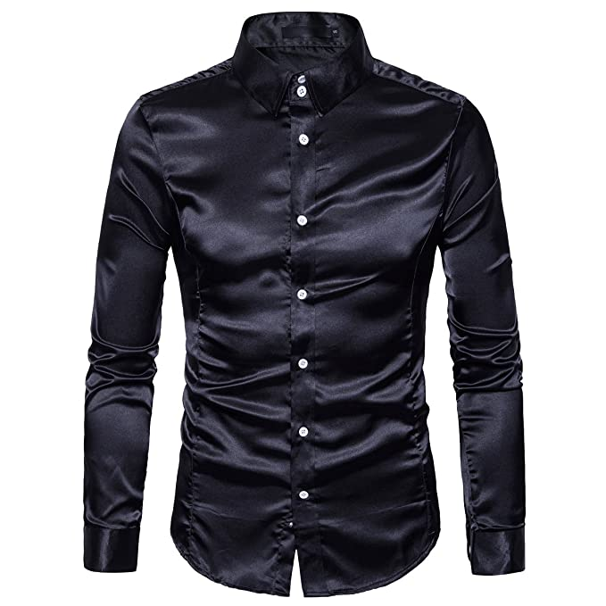 a9d4ac4915b03c Cottory Men's Night Club Style Satin Weave Pure Color Button Down Shirts  Black Small