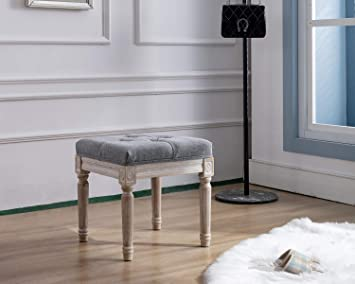 Amazon Com Kmax Small Padded Bench Square Upholstered Rustic Ottoman Bench Vanity Stools For Bedroom 15 75 X 15 75 X 15 7 Gray Kitchen Dining