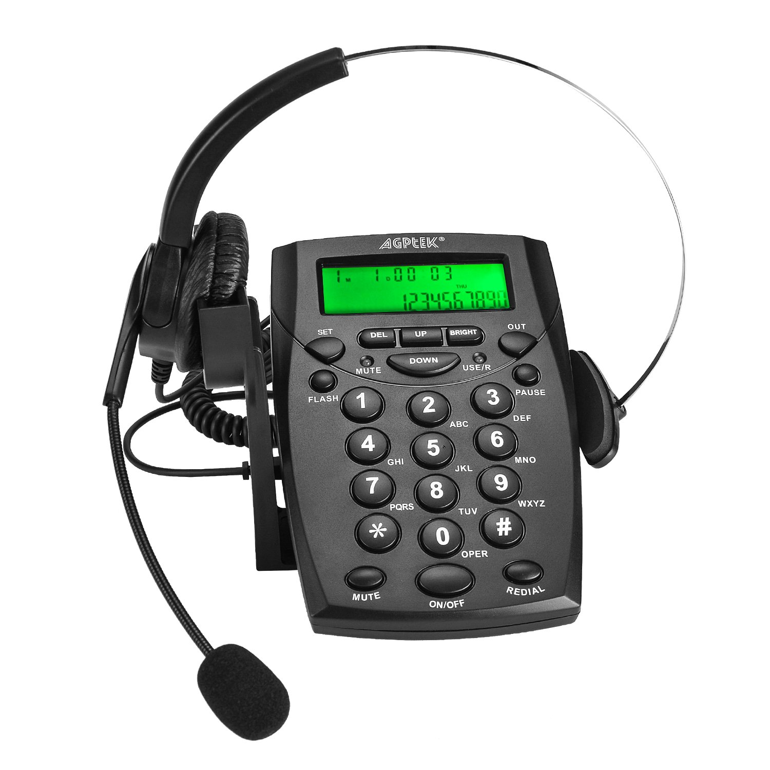 AGPtek Business/Call Center Telephone with Headset (Voice Recorder Port Available & Connect to The PC to Record)