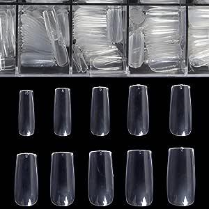 Uñas postizas largas de Coffin Nails, uñas postizas de acrílico transparente con forma de ataúd BTArtbox, 500 unidades, uñas postizas de cobertura completa con funda, B-Clear Square Nails 500pcs with case