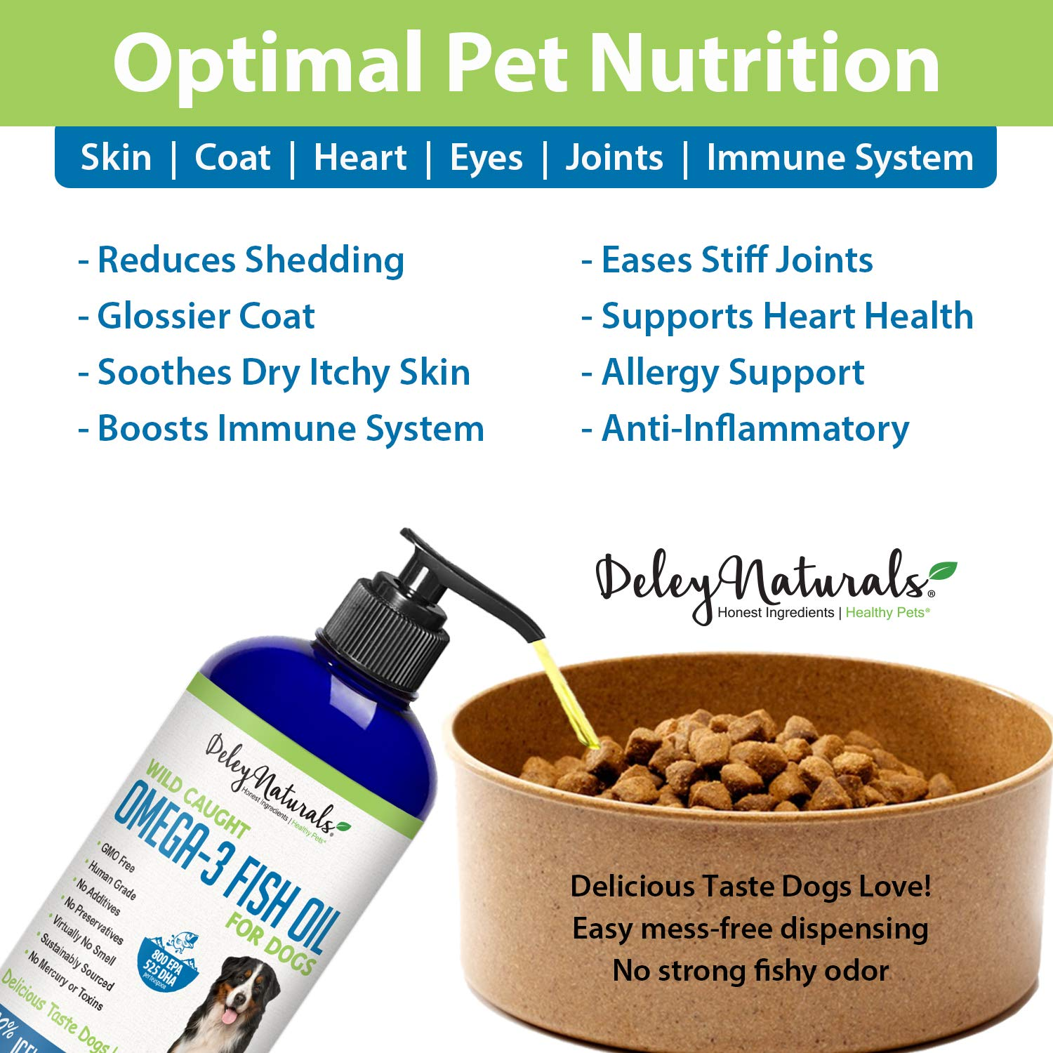 Deley Naturals Wild Caught Fish Oil for Dogs Omega 3-6-9, GMO Free Reduces Shedding, Supports Skin, Coat, Joints, Heart, Brain, Immune System Highest EPA DHA Potency Only Ingredient is Fish