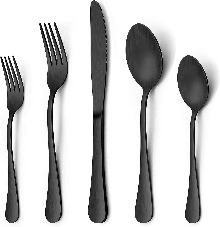 LIANYU 40 Piece Matte Black Silverware Set, Stainless Steel Black Flatware Cutlery Set for 8, Fancy Kitchen Utensil Tableware Set for Home Restaurant Party, Satin Finish, Dishwasher Safe