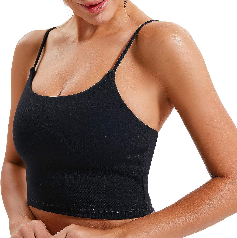 Womens Cami Crop Sports Bra Tank Wirefree Padded Yoga Workout Running Tops Bra