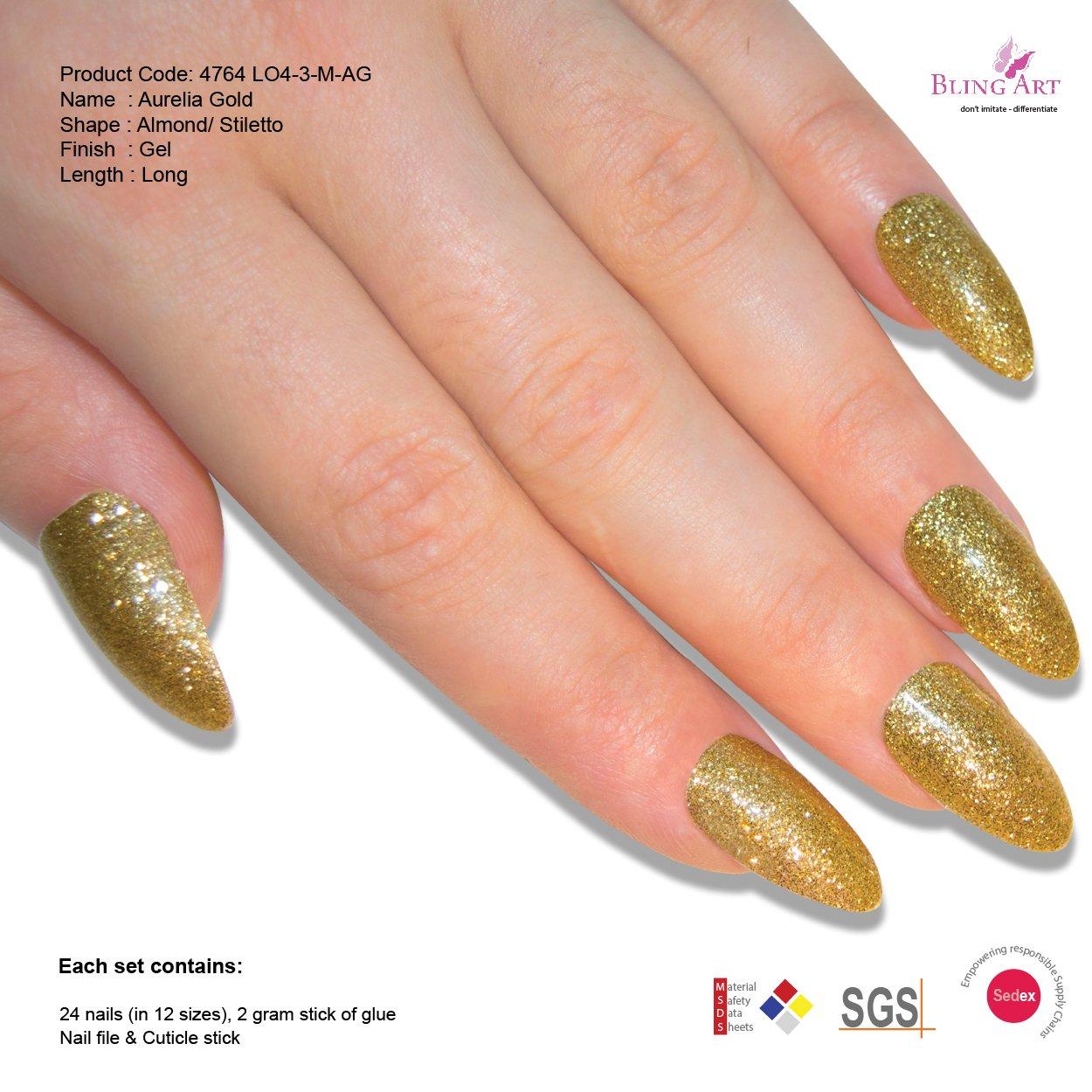 Amazon.com : Bling Art Almond False Nails Fake Stiletto Gel Gold ...