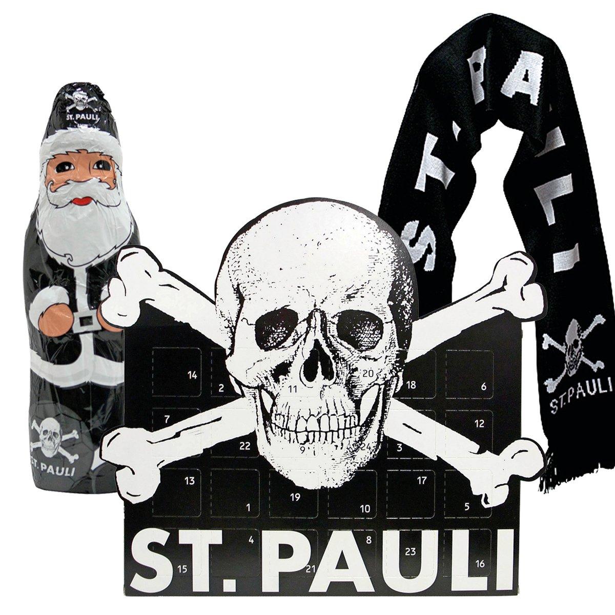 FC St. Pauli 3-teiliges Advents-Set mit Schal (Adventskalender + Schokoweihnachtsmann + Totenkopf-Schal schwarz) FC St. Pauli Merchandising