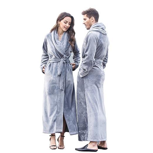 7 VEILS Women Unisex Microfleece Flannel Extra Long Floor Length Bathrobes  Grey-S 23a6e0fb2