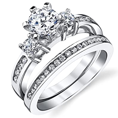 sterling silver cubic zirconia 115 carat tw round cut wedding engagement ring 2 piece set band - 2 Piece Wedding Rings