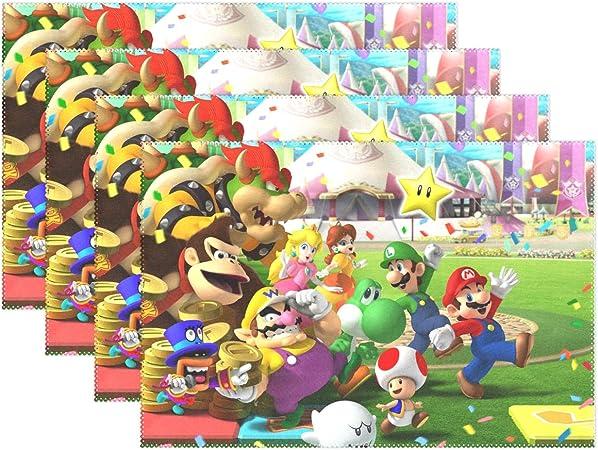 YMXHUR Super Mario Bros Manteles Individuales para Mesa de Cocina, poliéster, Resistente al Calor, Juego de 4 manteles de 18 x 12 Pulgadas: Amazon.es: Hogar
