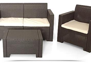 Conjunto Sofá + sillones + mesa resina jardín color Moka ...