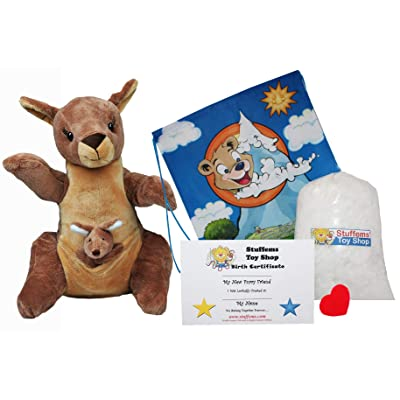 "Make Your Own Stuffed Animal 16"" ""Jill & Joey Kangaroos with Finger Puppet- No Sew - Kit with Cute Backpack!: Toys & Games"