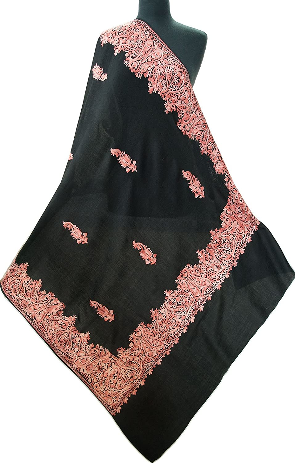 3b9d4b27389 Large, Embroidered Shawl. Black Wool Rose Crewel Embroidery. Kashmir ...