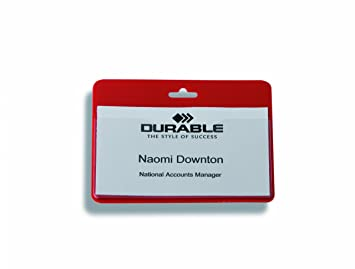 Durable 999108005 Security/Visitor Badge without Clip - Red