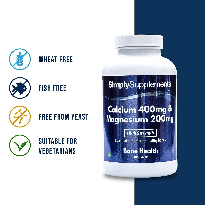 Calcio 400 mg y Magnesio 200 mg - 2 frascos de 180 comprimidos - 6 meses de suministro - Huesos, uñas y dientes sanos - SimplySupplements