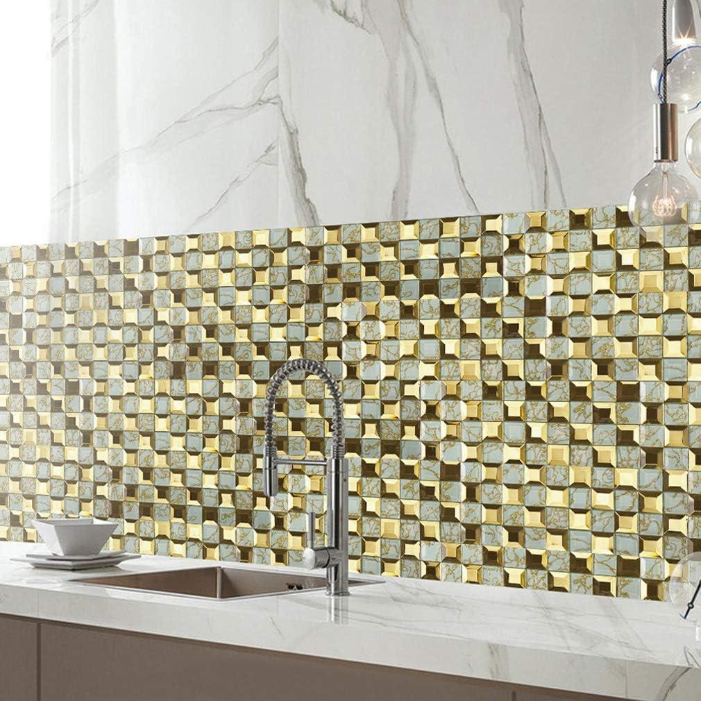 Wandaufkleber Fliesendekor K/üche u Bad Badezimmer,20CM*500CM JY ART 3D Fliesensticker golden mosaik fliesenaufkleber 20x20